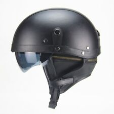 M/L/XL 56-61cm Harley Motorcycle Motorbike PU Leather Helmet Open Face Vintage