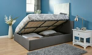 4FT Small Double Grey Space Saver Side Lift Bed Clearance 99p Brand New