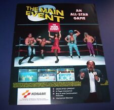 Konami THE MAIN EVENT Original 1988 Video Arcade Game Promo Flyer Wrestling