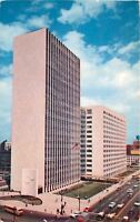 Detroit Michigan~The New City County Building~1950s Cars~City Bus~Postcard