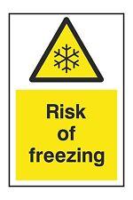 1x DANGER RISK OF FREEZING Warning Vinyl Sticker for Fridge Cold Door Safety