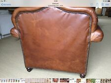 laura ashley 2 brown leather 2 seater sofas & 1 matching armchair