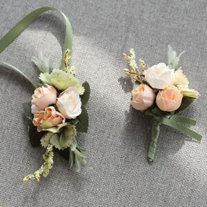 Silk Rose Flower Wrist Corsage Bracelet Wedding Groom Boutonniere Party Supply