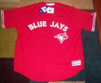 Stitched AUTHENTIC Majestic TORONTO BLUE JAYS Red CANADA DAY Jersey 2XL CoolBase