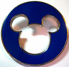 MICKEY HEAD ICON CUT OUT - BLUE CIRCULAR SILHOUETTE Disney Pin WDW DLR cut out
