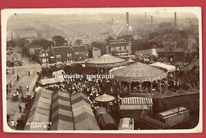 Vintage Postcard Cleckheaton Feast Fair Carousel Rides W Yorkshire Real Photo