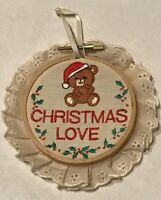 Russ Berrie & Co. Christmas Love Santa Bear Ornament 1980s Vintage Circle Lace