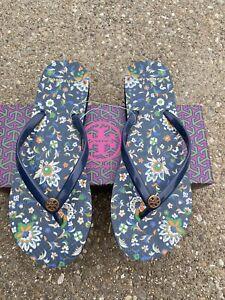 Tory Burch Printed Thin Flip Flop Navy/navy Soleil Size 9 Sandal