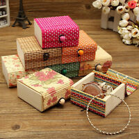 Jewellery Beads Trinket Wooden Bamboo Storage Box Bracelets Ring Handmade Case