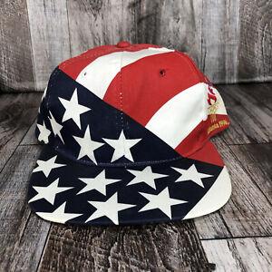 VINTAGE OLYMPIC GAMES HAT CAP SNAPBACK HANES AMERICAN FLAG ATLANTA 1996 ONE SIZE