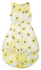Girls Sleeveless Lace Floral Party Summer Dress New Kids Yellow Ages 2-12 Years