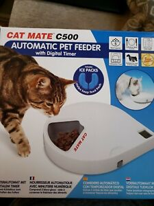 Cat Mate Automatic Digital 5 Meal Feeder With Ice Packs NEW