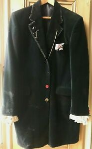 Steampunk Pirate dark blue velvet men's coat upcycled and grunge style 42L