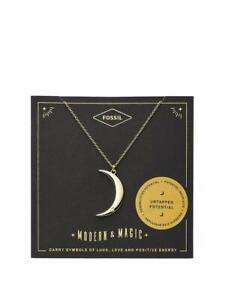 ✸💥 Fossil Gold Tone Crescent Moon Pendant Necklace RRP £45 ✸💥