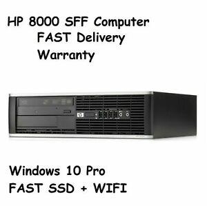 WINDOWS 10 DESKTOP HP ELITE 8000/8200/8300 SFF 120GB / 240GB SSD COMPUTER WiFi