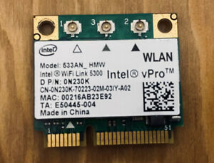 Intel vPro Wireless Wi-Fi Card Model- 533AN_HMW, 0N230K WLAN DELL STUDIO1558 (2)