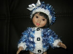 """Hand Knitted Clothes White Blue Feather Sweater fits 10"""" Ann Estelle Tonner Doll"""