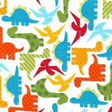 Fabric Dinosaurs Zoologie on White Flannel by the 1/4 yard