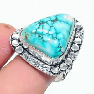 Tibetan Turquoise Gemstone Handmade 925 Sterling Silver Jewelry Ring Size 8