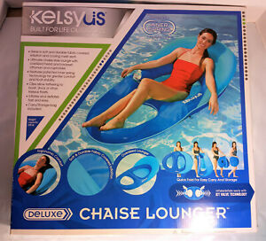 Open Box Kelsyus Deluxe Inflatable Floating Pool Lake Chaise Lounger Blue