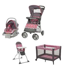 NEW Cosco Travel System Stroller Car Seat Play Yard Crib High Chair Pink Nursery