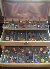 Vintage Lady Buxton Jewelry Box & 41 Pair Clip Earrings/Coro, Japan, W. Germany+