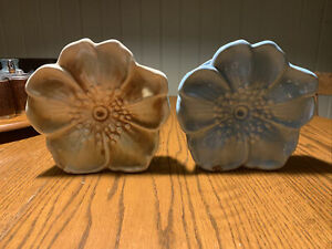 Vintage McCoy lot of 2 flower wall pockets rustic line and blue