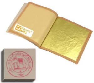 Gold Leaf 20 Sheets Edible Genuine 24k 999/1000 Food Gilding 99.9 Pure Leaves