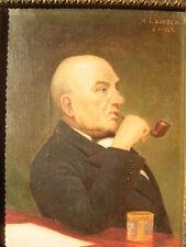 Portrait H.J.Hansen 1929 Pipe stilife painting oil canvas