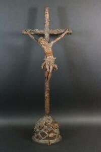 Großes Standkruzifix Jesus Christus Korpus Holz geschnitzt 19.Jhd (CQ629)