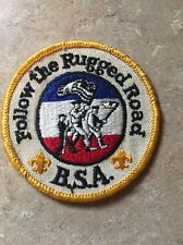 VINTAGE FOLLOW THE RUGGED ROAD BSA PATCH