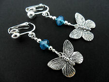A PAIR TIBETAN SILVER BUTTERFLY & BLUE CRYSTAL BEAD  CLIP ON EARRINGS. NEW.