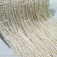 """4-5mm White Natural Real Freshwater Cultured Rice Pearl Loose Beads 15""""AAA+"""