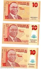 LOT 3 Billets NIGERIA 10 NAIRA DIFFERENTS DATE 2006 2009 2010 NEUF UNC