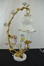 Italian Tole Table Lamp Gilded with  Porcelain Rose Marble Base
