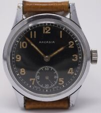 Vintage 1950s Mens German Military Wristwatch - Arcadia - Large, Black Dial