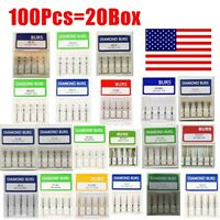 100Pcs Dental Diamond Burs For High Speed Handpiece Medium FG 1.6M New