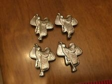 Rodeo Horse Riding Set of 4 Western Saddle Button Covers Silver Tone