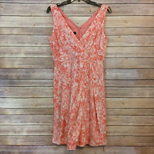 Talbot 8P Peach Pink Coral Floral Watercolor Dress Silk Cotton Blend V Neck  225
