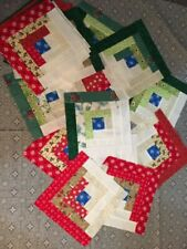 20 Patchwork Quilt Blocks - Traditional Log Cabin Style  - Handmade in Vermont