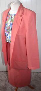 Jacques Vert Quality Designer Suit & Blouse - Size UK 14