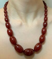 "Art Deco Cherry Amber Bakelite Necklace with 9ct Clasp 20"" long 62g"