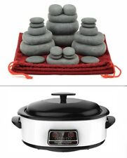 HOT STONE MASSAGE KIT: 22 Basalt Stones in Drawstring Bag 6 Litre Digital Heater