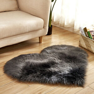 Heart-shaped Carpet Faux Suede Fluffy Rug Upholstery Living Room Home Decor Soft