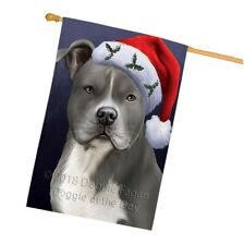 Christmas Holidays American Staffordshire Terrier Dog Hat House Flag Flg53686