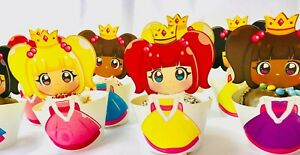 12 x Princess Gold Foil Detail Birthday Party Cake Cup Cake Wrapper & Toppers
