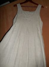 SALE A+ oatmeal 100% linen maxi dress jumper lagenlook wide pleats ARTSY 4 6 270