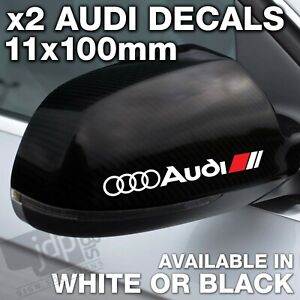 AUDI 2 x Wing Mirror DECALS VINYL STICKERS - For all Models - WHITE OR BLACK
