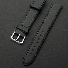16mm-22mm Leather Soft Replacement Strap Steel Buckle Wrist Watch Band