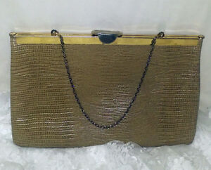 Tan Reptile LEATHER Vintage *ETRA* Framed Flat CLUTCH Purse w/Chain Handle